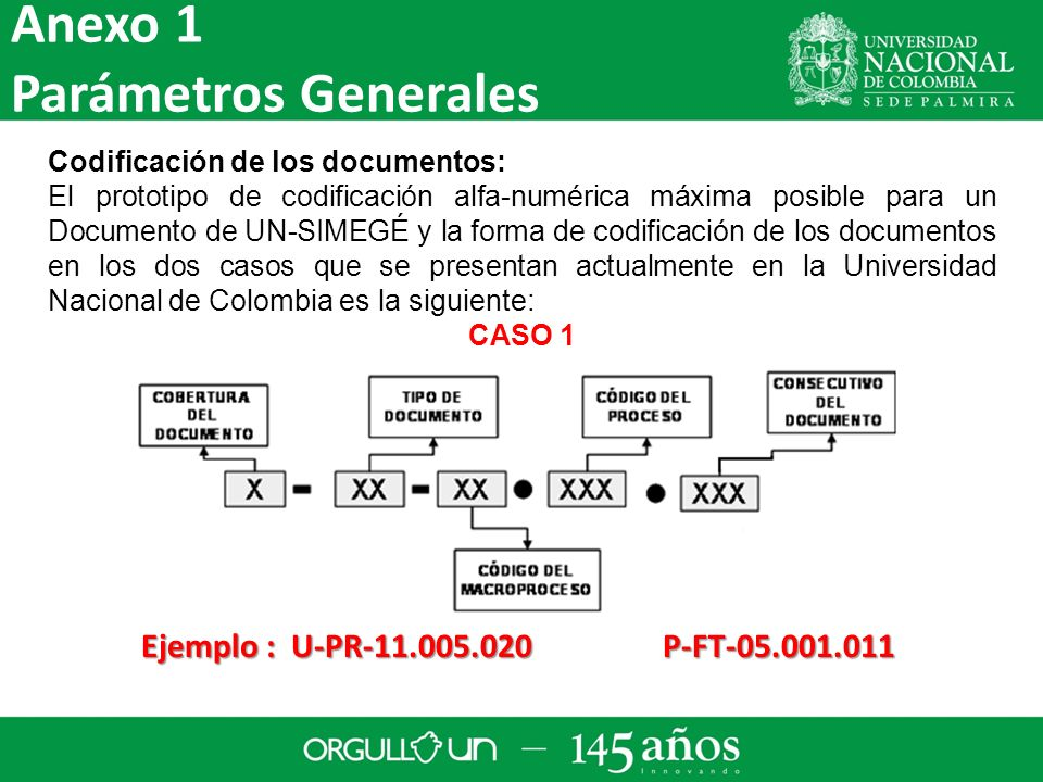 Anexo 1 Parámetros Generales Ejemplo : U-PR-11.005.020 P-FT-05.001.011