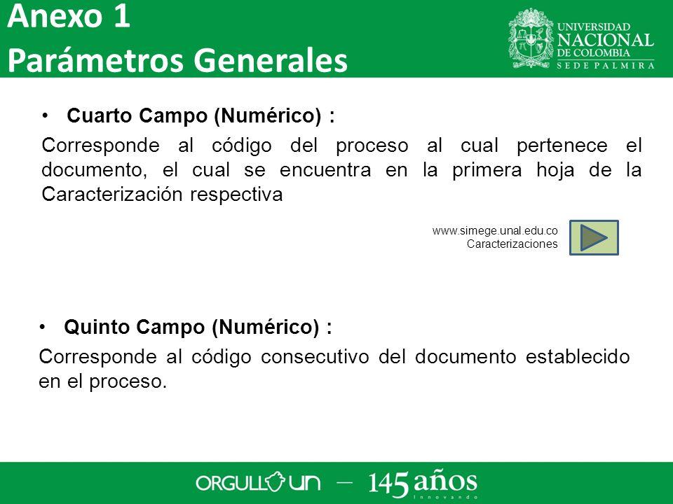 Anexo 1 Parámetros Generales Cuarto Campo (Numérico) :