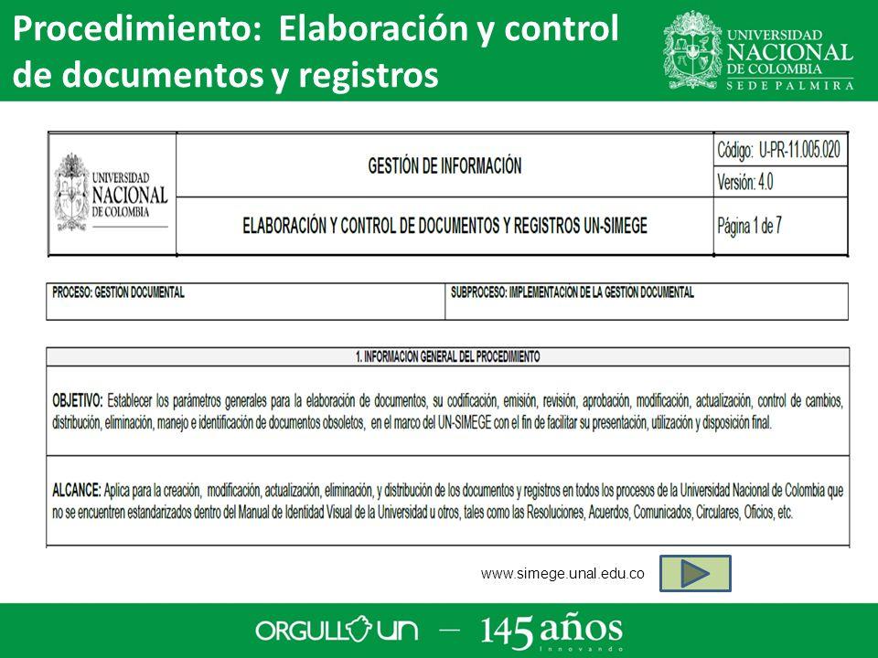 Procedimiento: Elaboración y control de documentos y registros