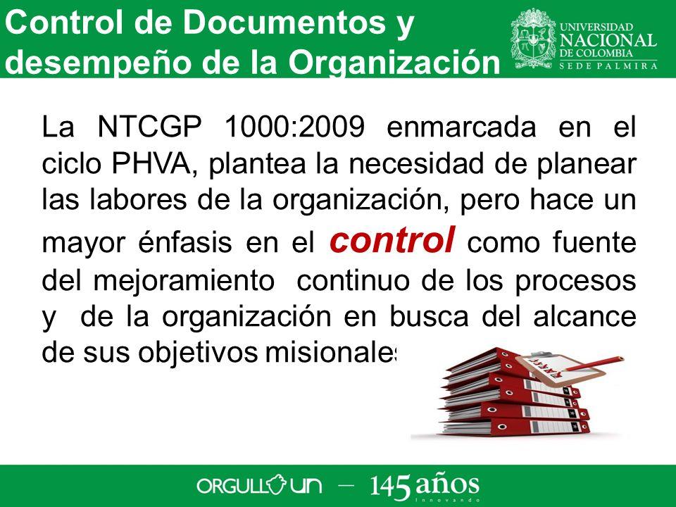 Control de Documentos y desempeño de la Organización