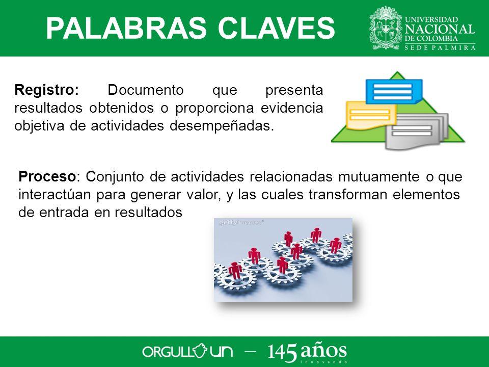 PALABRAS CLAVES Registro: Documento que presenta resultados obtenidos o proporciona evidencia objetiva de actividades desempeñadas.