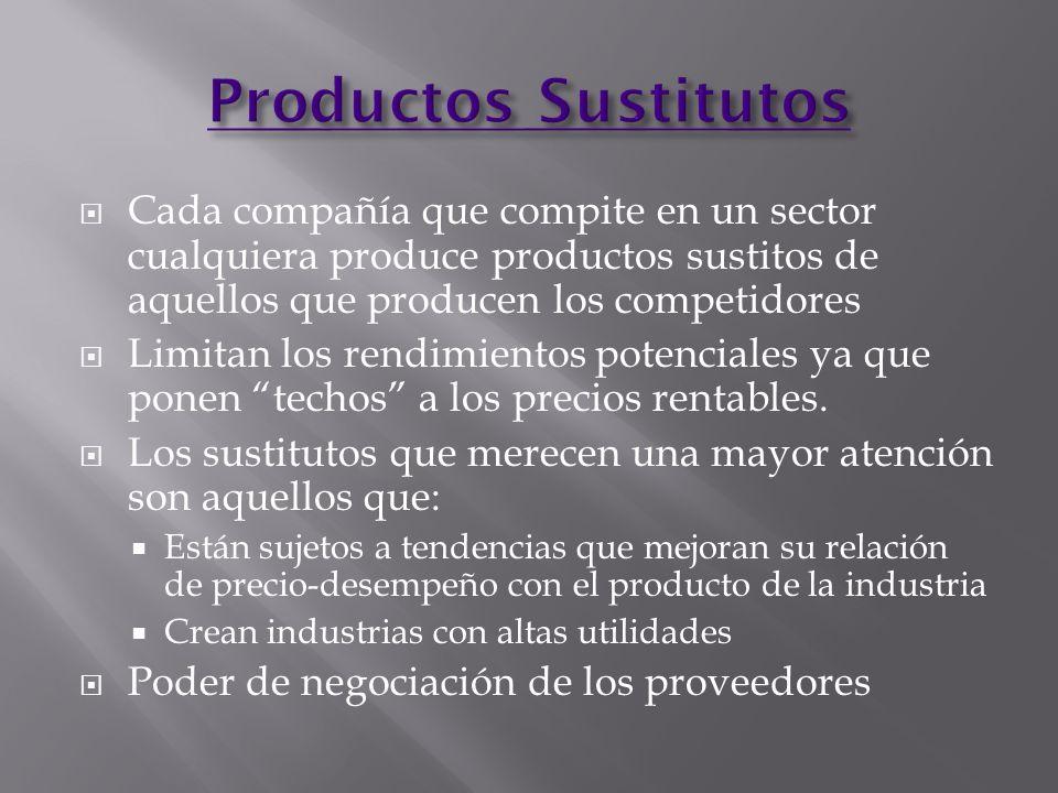 Productos Sustitutos Cada compañía que compite en un sector cualquiera produce productos sustitos de aquellos que producen los competidores.