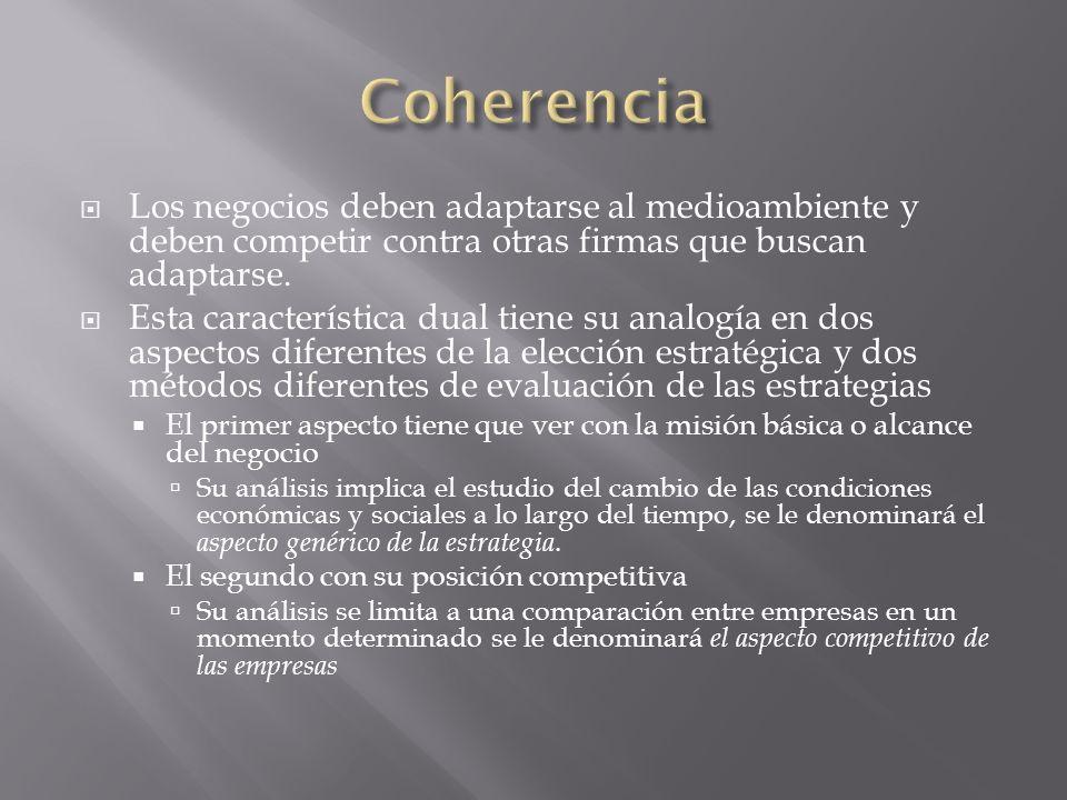 Coherencia Los negocios deben adaptarse al medioambiente y deben competir contra otras firmas que buscan adaptarse.