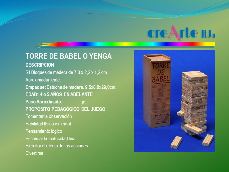 TORRE DE BABEL O YENGA DESCRIPCION