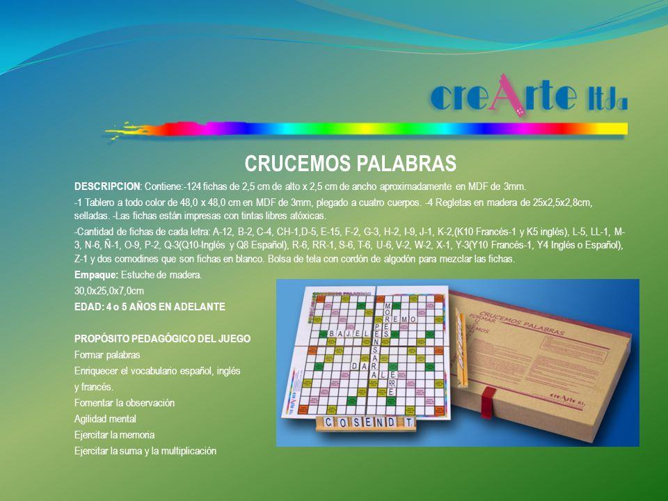 CRUCEMOS PALABRAS DESCRIPCION: Contiene:-124 fichas de 2,5 cm de alto x 2,5 cm de ancho aproximadamente en MDF de 3mm.