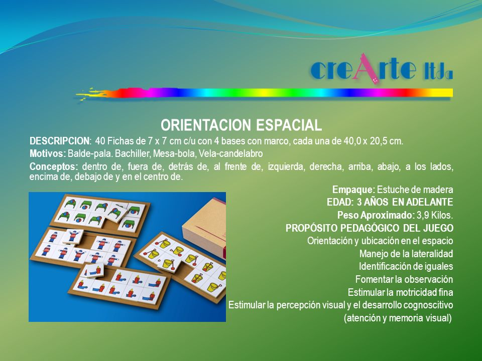 ORIENTACION ESPACIAL DESCRIPCION: 40 Fichas de 7 x 7 cm c/u con 4 bases con marco, cada una de 40,0 x 20,5 cm.