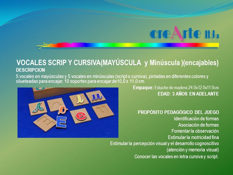 VOCALES SCRIP Y CURSIVA(MAYÚSCULA y Minúscula )(encajables)