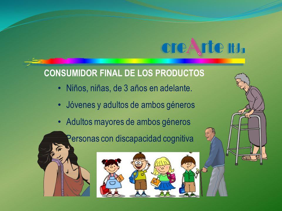 CONSUMIDOR FINAL DE LOS PRODUCTOS Niños, niñas, de 3 años en adelante.