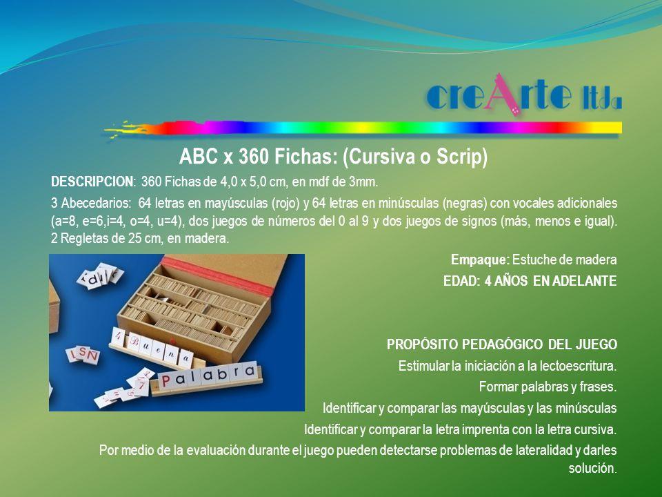 ABC x 360 Fichas: (Cursiva o Scrip)