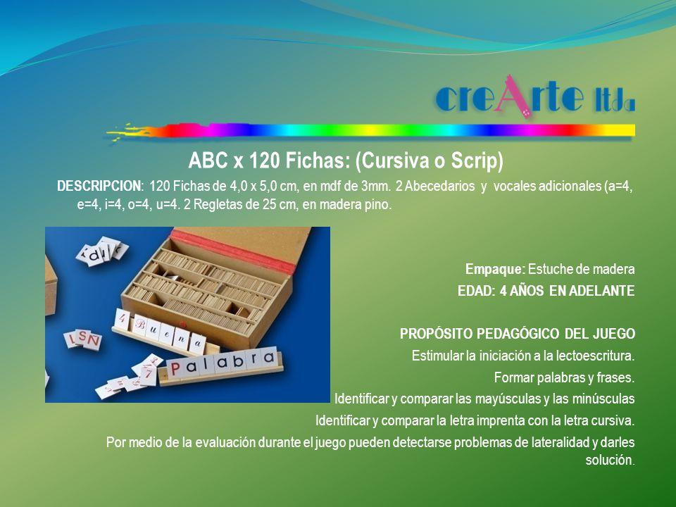 ABC x 120 Fichas: (Cursiva o Scrip)