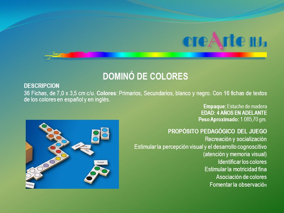 DOMINÓ DE COLORES DESCRIPCION