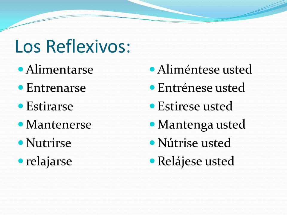 Los Reflexivos: Alimentarse Entrenarse Estirarse Mantenerse Nutrirse