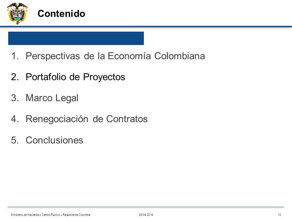 Perspectivas de la Economía Colombiana Portafolio de Proyectos