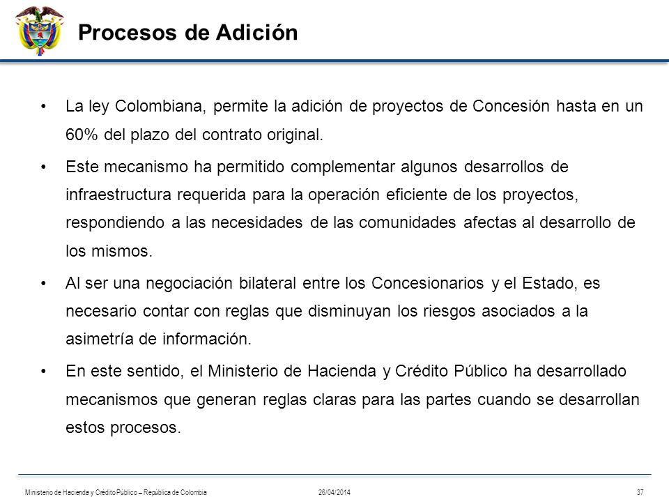 Procesos de Adición La ley Colombiana, permite la adición de proyectos de Concesión hasta en un 60% del plazo del contrato original.