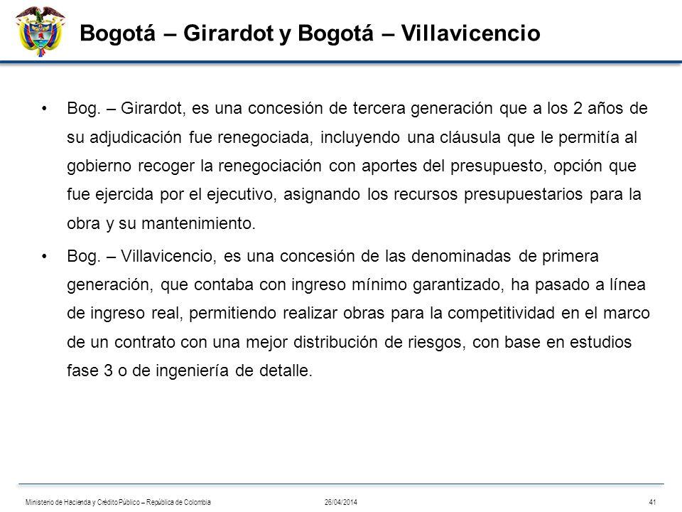 Bogotá – Girardot y Bogotá – Villavicencio