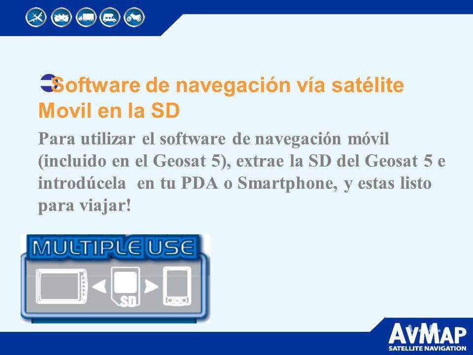Software de navegación vía satélite Movil en la SD