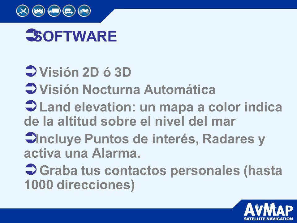 SOFTWARE Visión 2D ó 3D Visión Nocturna Automática