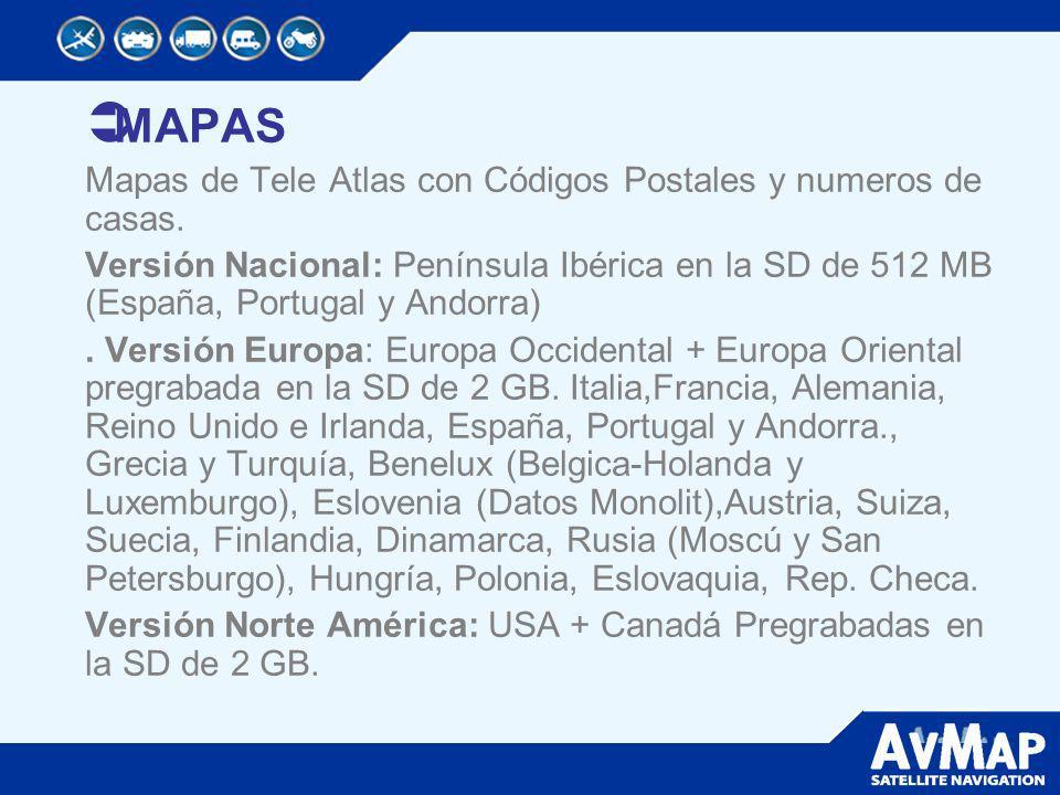 MAPAS Mapas de Tele Atlas con Códigos Postales y numeros de casas.