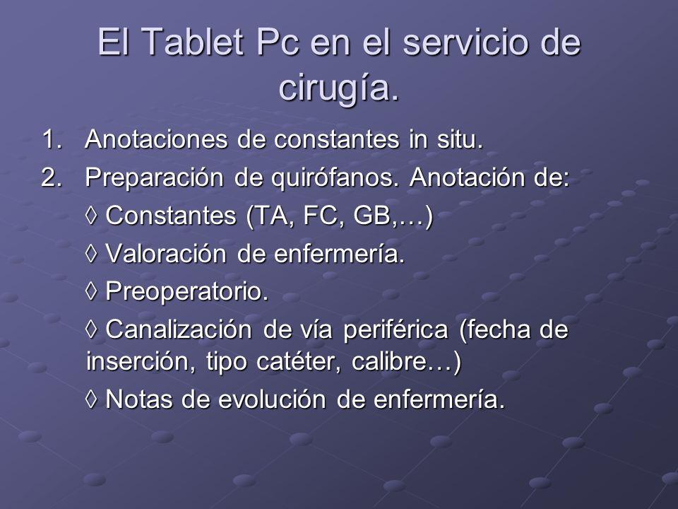 El Tablet Pc en el servicio de cirugía.