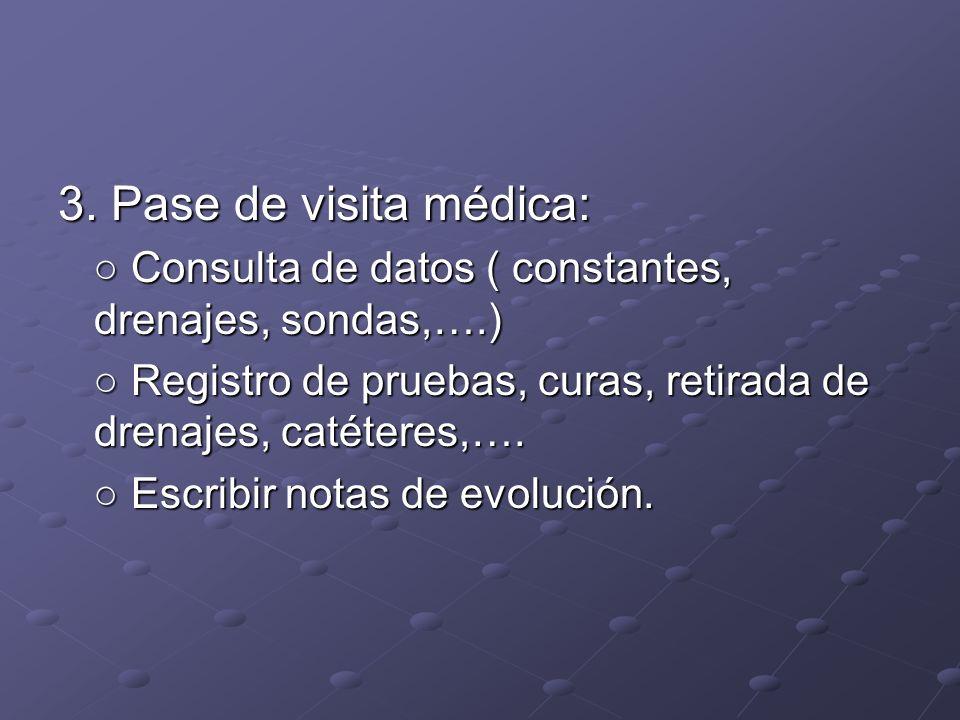 3. Pase de visita médica: ○ Consulta de datos ( constantes, drenajes, sondas,….) ○ Registro de pruebas, curas, retirada de drenajes, catéteres,….