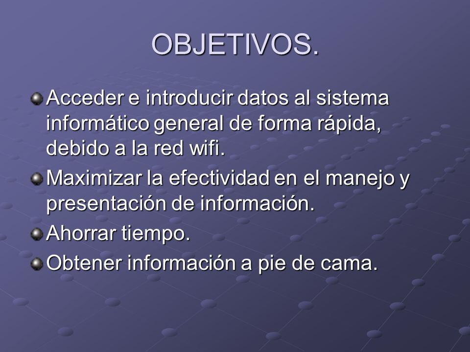 OBJETIVOS. Acceder e introducir datos al sistema informático general de forma rápida, debido a la red wifi.