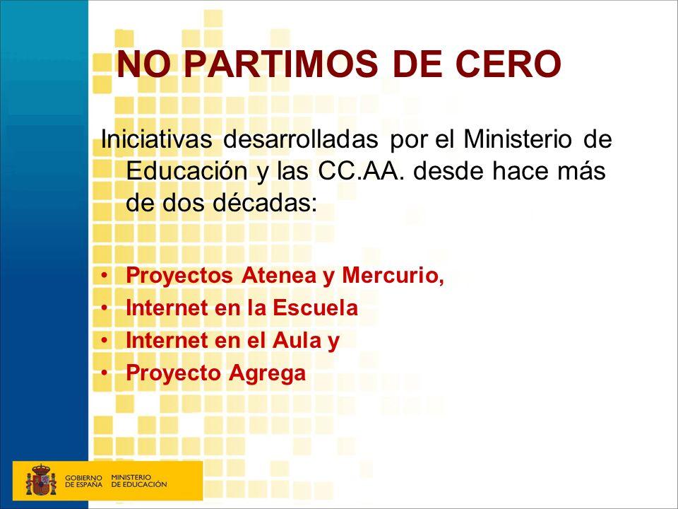 NO PARTIMOS DE CERO Iniciativas desarrolladas por el Ministerio de Educación y las CC.AA. desde hace más de dos décadas: