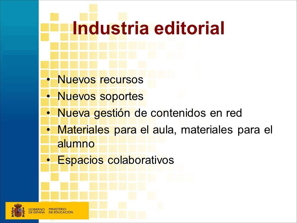 Industria editorial Nuevos recursos Nuevos soportes