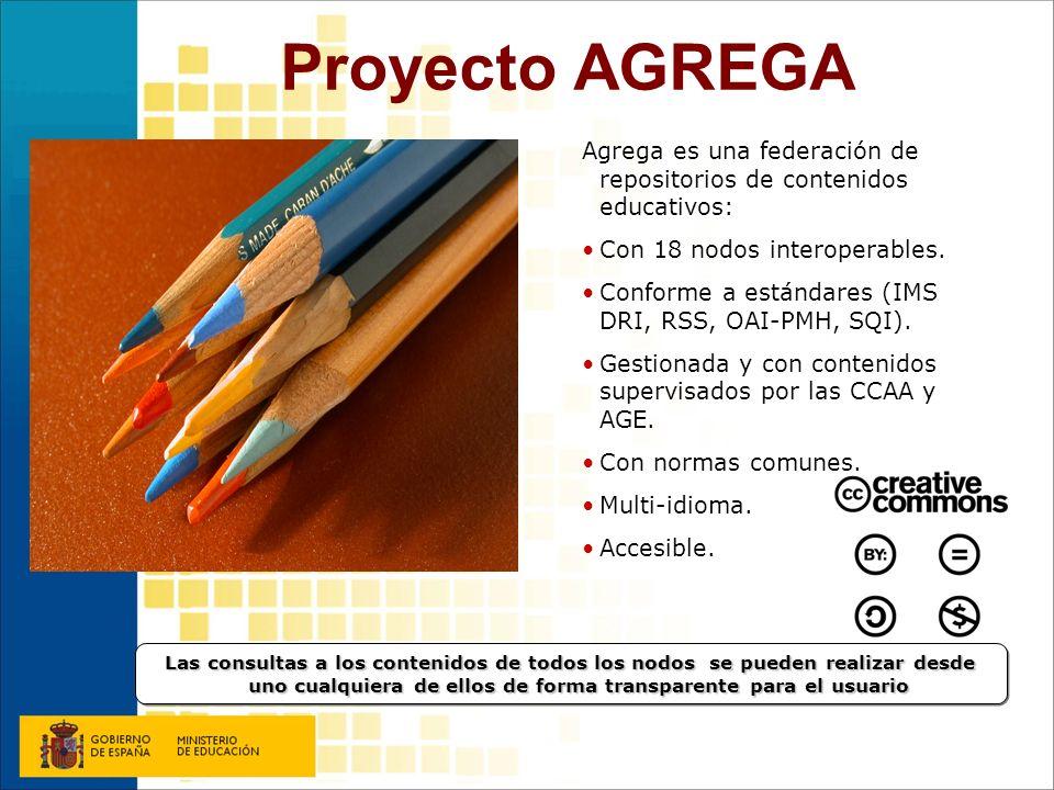 Proyecto AGREGA Agrega es una federación de repositorios de contenidos educativos: Con 18 nodos interoperables.