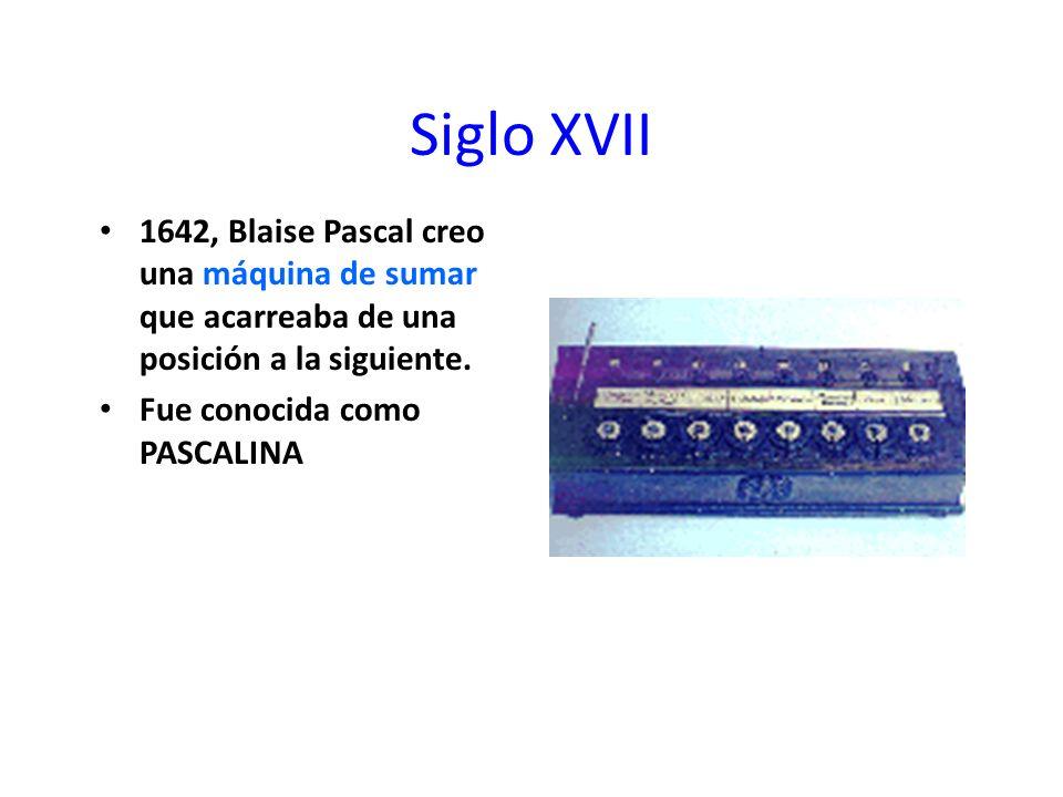 Siglo XVII 1642, Blaise Pascal creo una máquina de sumar que acarreaba de una posición a la siguiente.