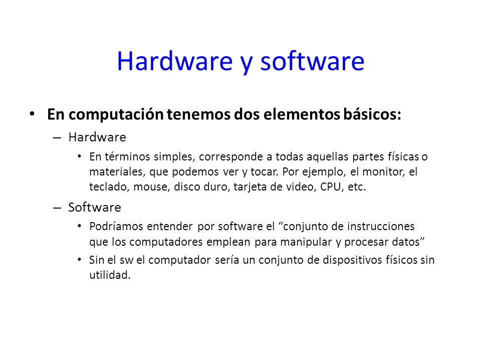 Hardware y software En computación tenemos dos elementos básicos: