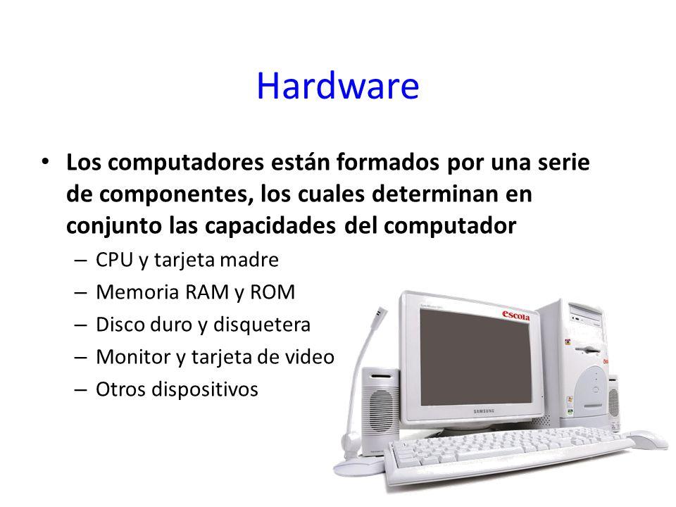 Hardware Los computadores están formados por una serie de componentes, los cuales determinan en conjunto las capacidades del computador.
