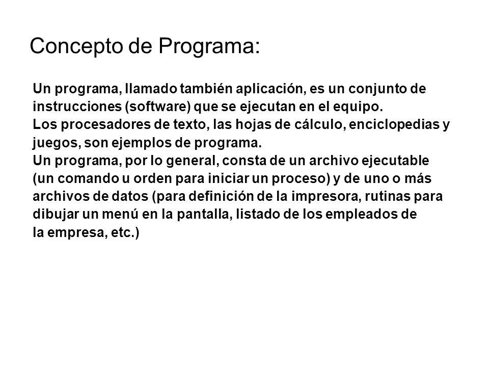 Concepto de Programa: Un programa, llamado también aplicación, es un conjunto de. instrucciones (software) que se ejecutan en el equipo.