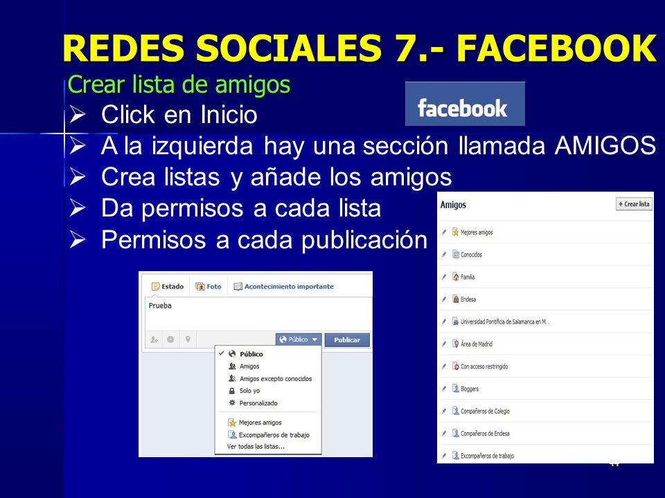 REDES SOCIALES 7.- FACEBOOK