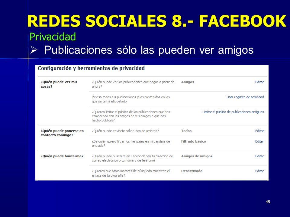 REDES SOCIALES 8.- FACEBOOK