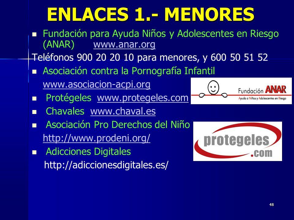 ENLACES 1.- MENORES Fundación para Ayuda Niños y Adolescentes en Riesgo (ANAR) www.anar.org. Teléfonos 900 20 20 10 para menores, y 600 50 51 52.
