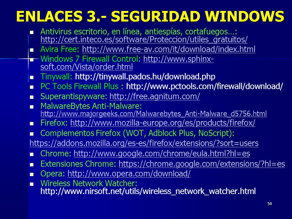 ENLACES 3.- SEGURIDAD WINDOWS