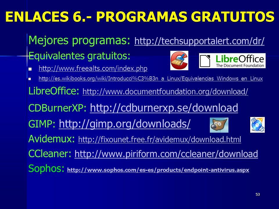 ENLACES 6.- PROGRAMAS GRATUITOS