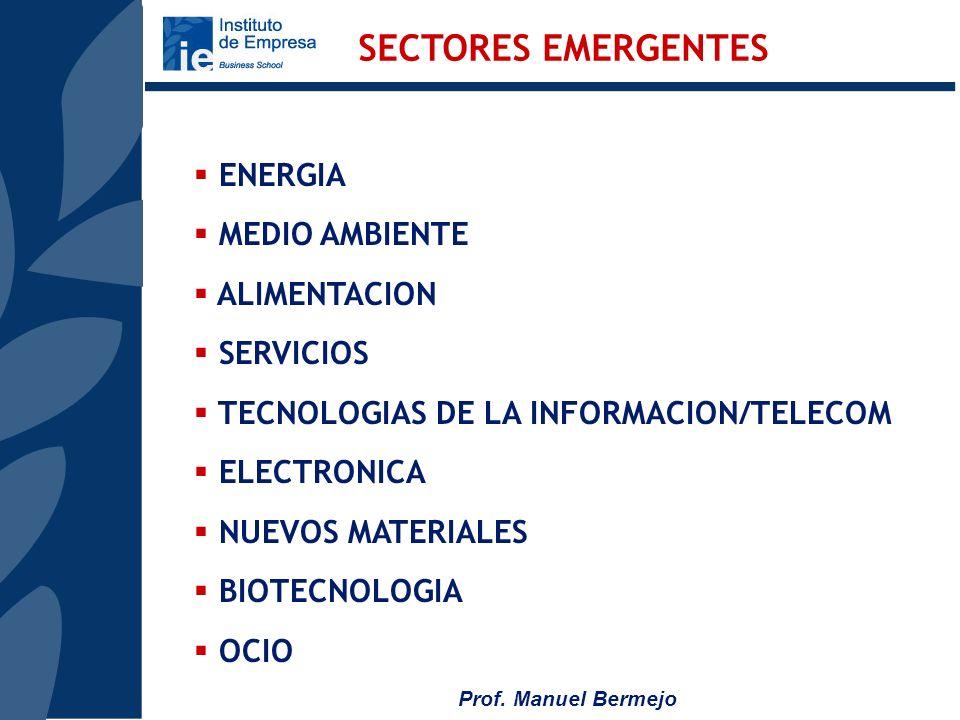 SECTORES EMERGENTES ENERGIA MEDIO AMBIENTE ALIMENTACION SERVICIOS