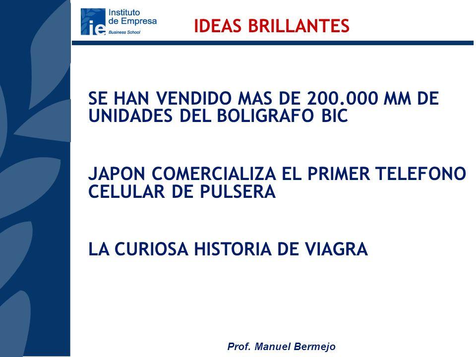 IDEAS BRILLANTES SE HAN VENDIDO MAS DE 200.000 MM DE UNIDADES DEL BOLIGRAFO BIC. JAPON COMERCIALIZA EL PRIMER TELEFONO CELULAR DE PULSERA.