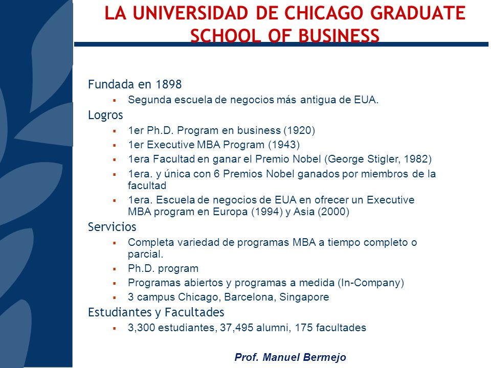 LA UNIVERSIDAD DE CHICAGO GRADUATE SCHOOL OF BUSINESS