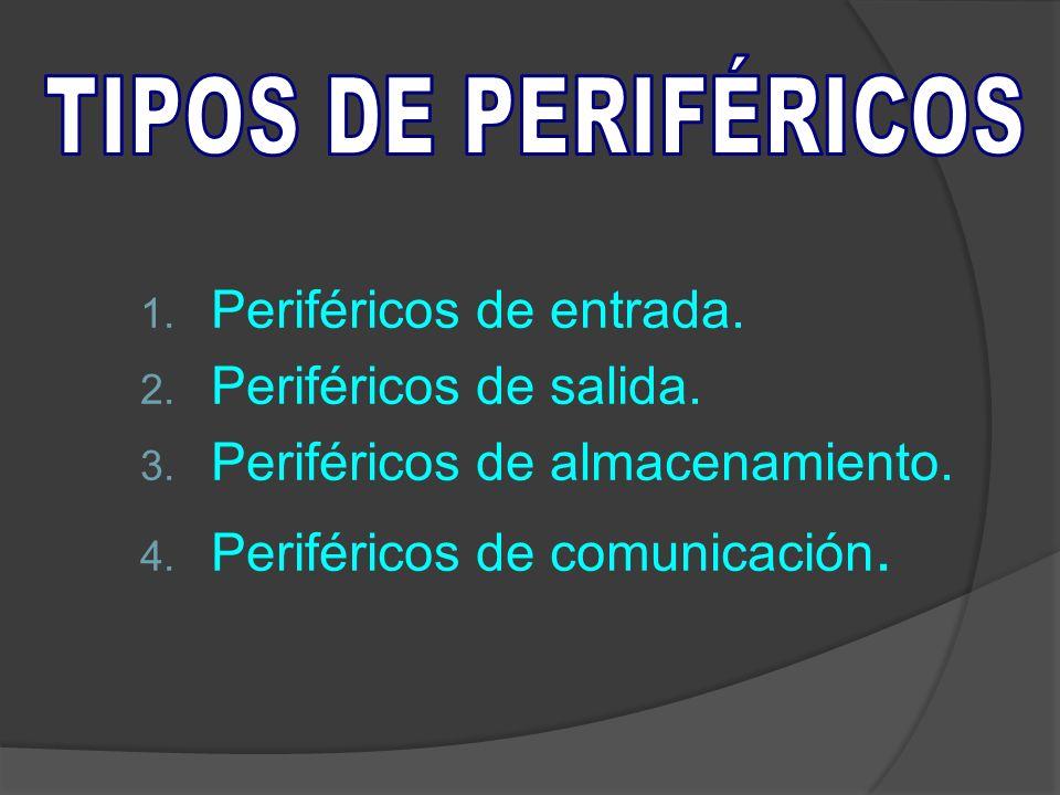 TIPOS DE PERIFÉRICOS Periféricos de entrada. Periféricos de salida. Periféricos de almacenamiento.