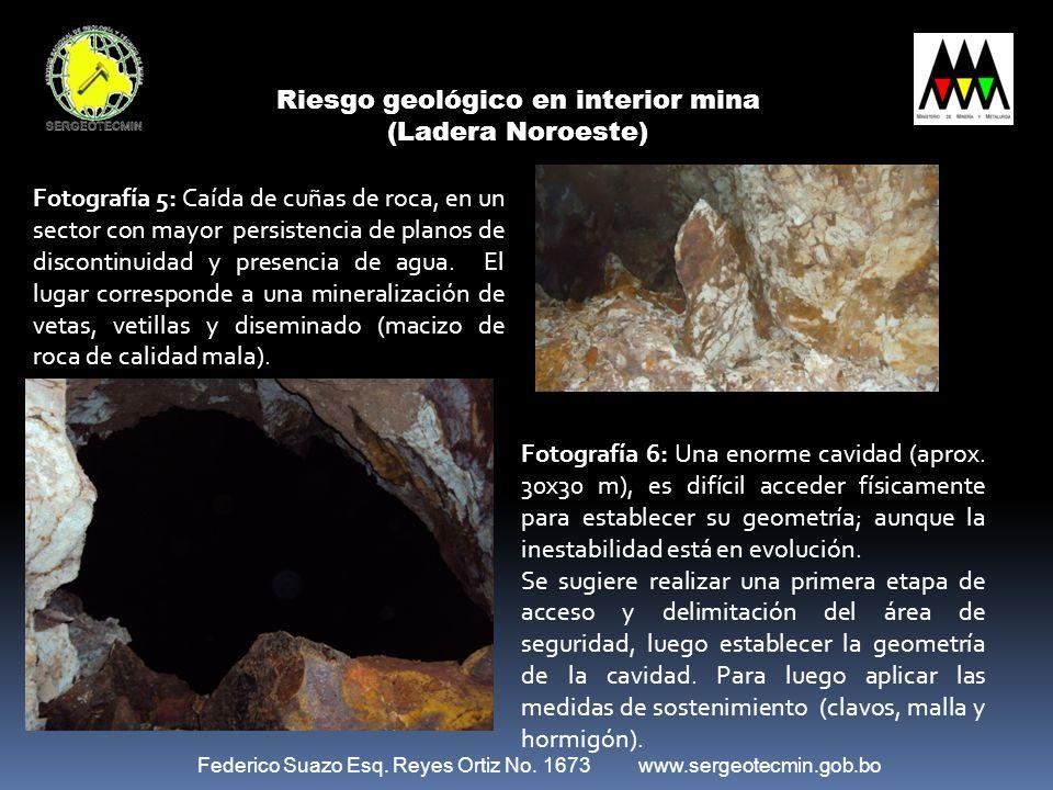 Riesgo geológico en interior mina (Ladera Noroeste)