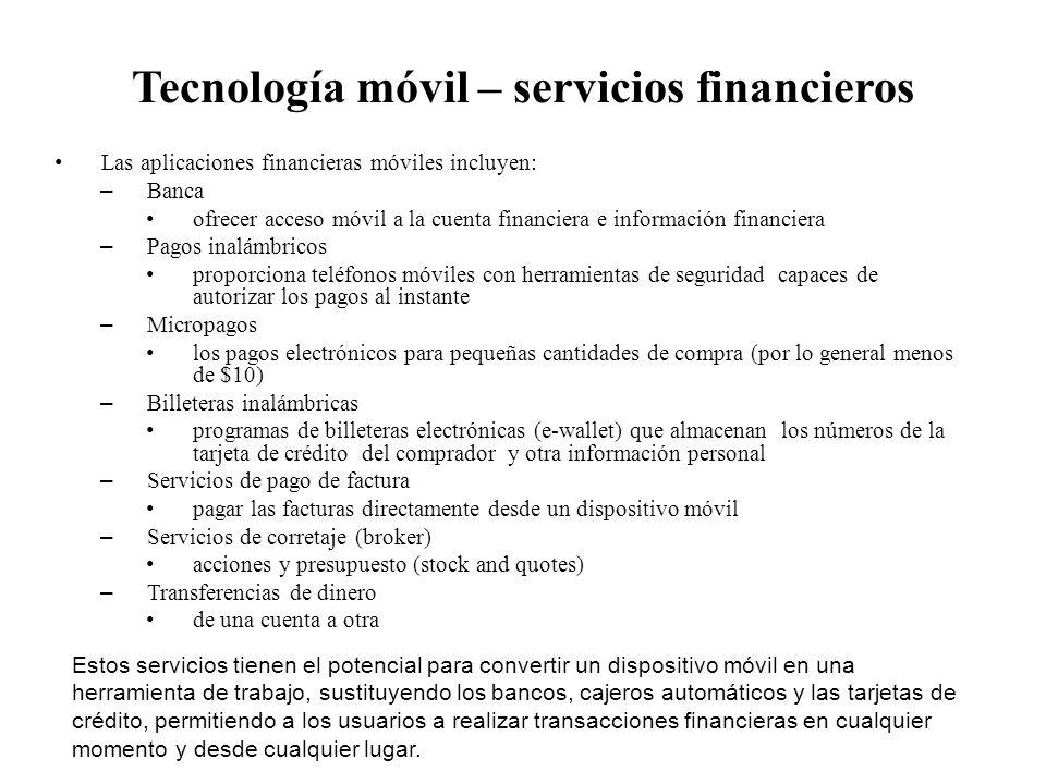 Tecnología móvil – servicios financieros
