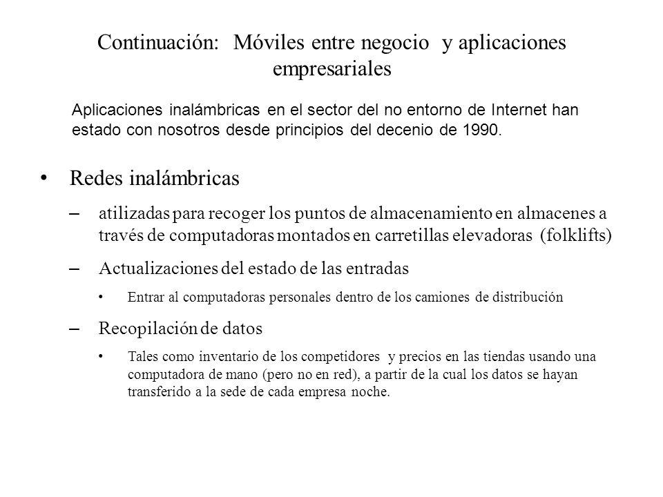 Continuación: Móviles entre negocio y aplicaciones empresariales