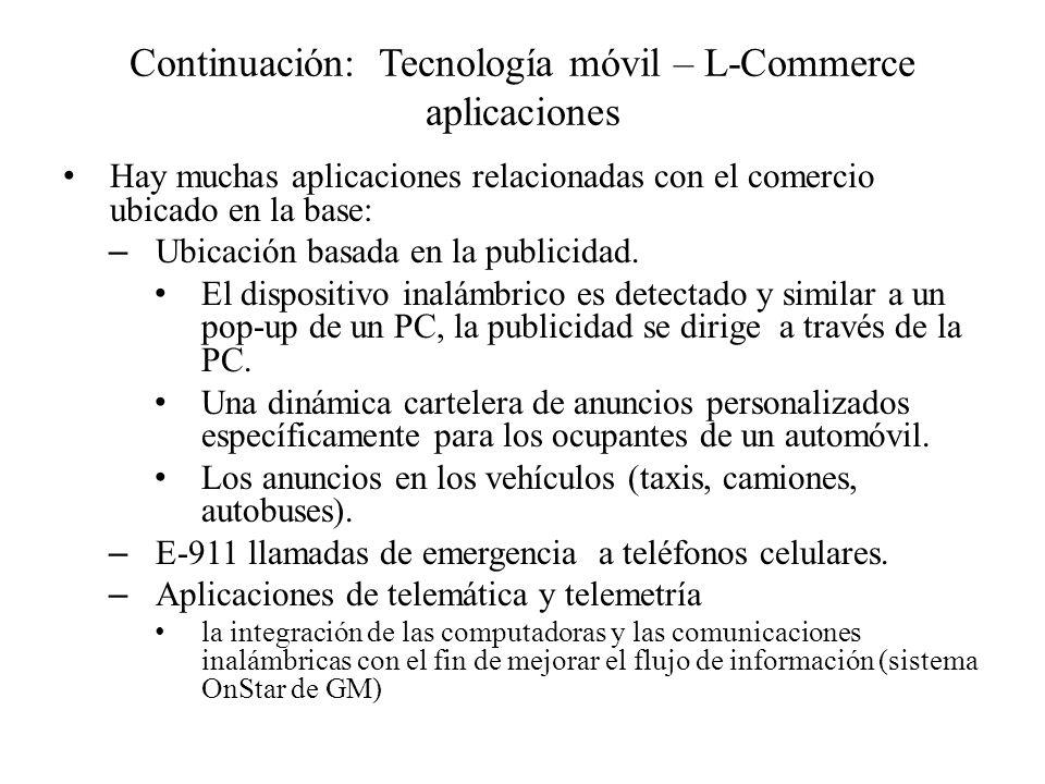 Continuación: Tecnología móvil – L-Commerce aplicaciones