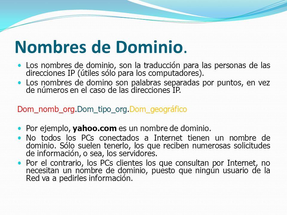 Nombres de Dominio. Los nombres de dominio, son la traducción para las personas de las direcciones IP (útiles sólo para los computadores).