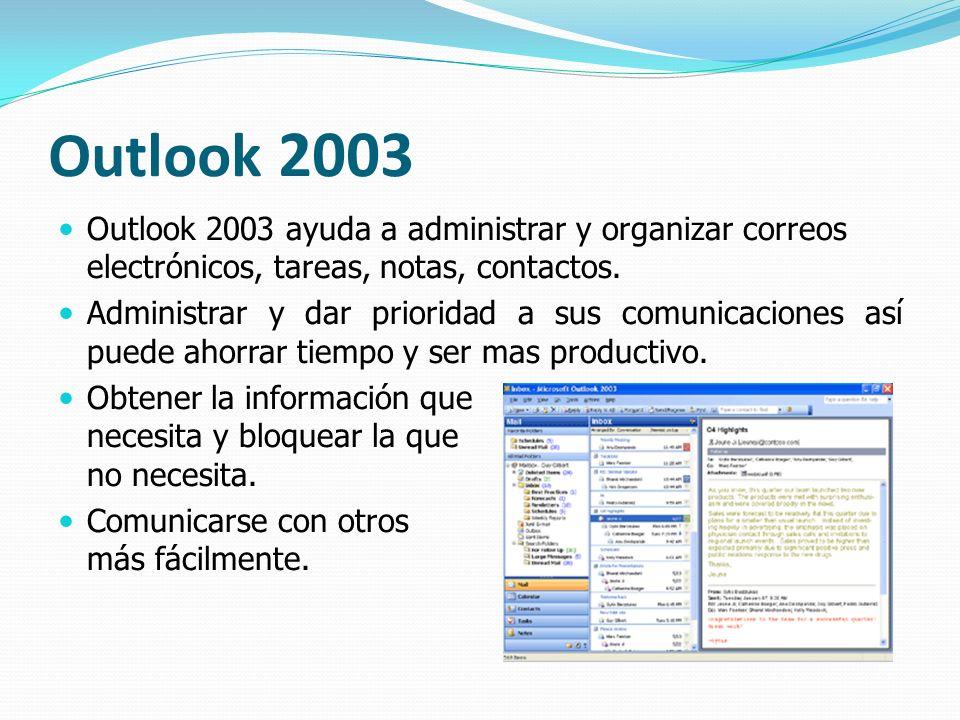 Outlook 2003 Outlook 2003 ayuda a administrar y organizar correos electrónicos, tareas, notas, contactos.