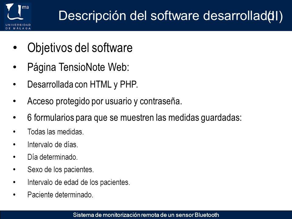 Descripción del software desarrollado (II)