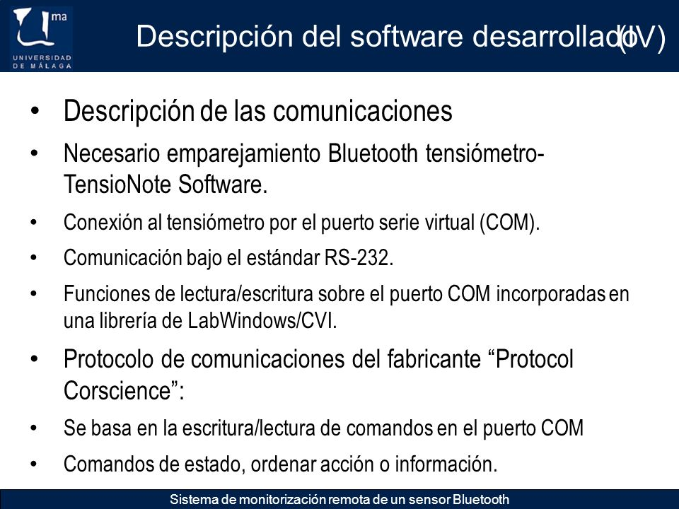 Descripción del software desarrollado (IV)