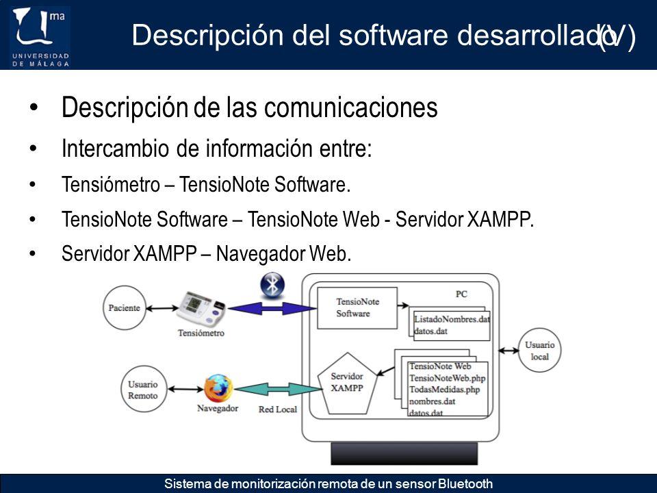 Descripción del software desarrollado (V)